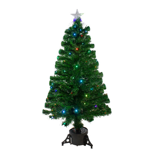 4' Pre-Lit Potted Fiber Optic with Star Tree Topper Medium Artificial Christmas Tree- Multicolor LED Lights - IMAGE 1