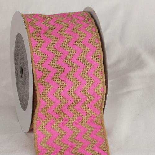 "Tan and Pink Burlap Chevron Print Wired Craft Ribbon 3"" x 40 Yards - IMAGE 1"