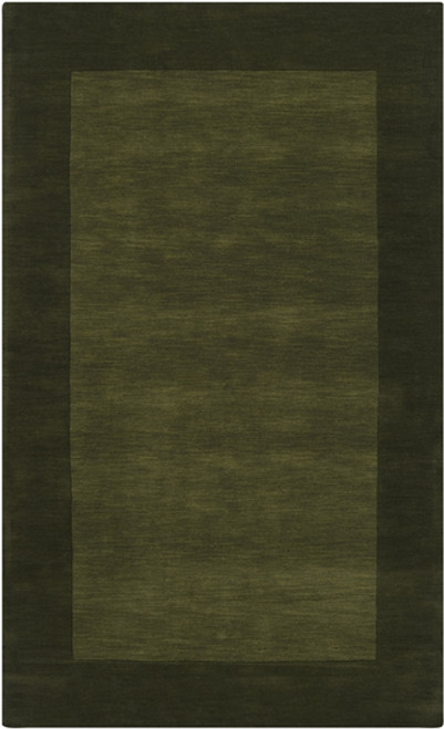 7.5' x 9.5' Solid Olive Green Hand Loomed Rectangular Wool Area Throw Rug - IMAGE 1