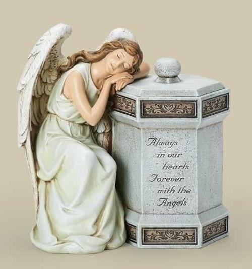 """12.5"""" Joseph's Studio Sleeping Angel """"Always in our Hearts"""" Memorial Keepsake Box - IMAGE 1"""