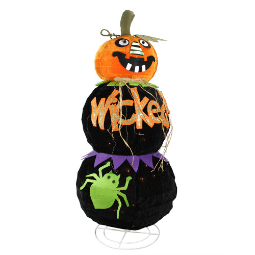 "38"" Pre-Lit Orange and Black Standing Spooky Wicked Jack-O-Lantern Pumpkin Halloween Decor - IMAGE 1"