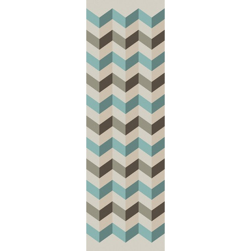 2.5' x 8' Chevrons Teal Blue and Brown Hand Woven Wool Area Throw Rug Runner - IMAGE 1