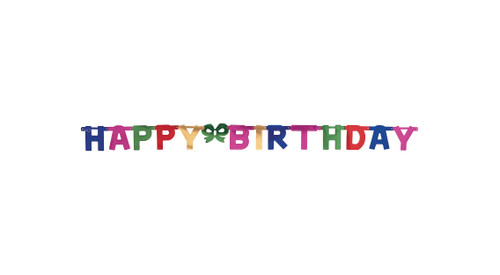 """Club Pack of 12 Large """"Happy Birthday"""" Multicolored Jointed Banners With Green Bow 7' - IMAGE 1"""