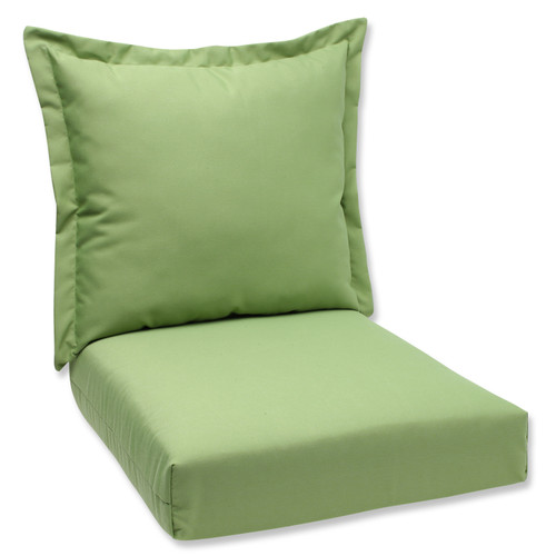 "44"" Sunbrella Green Outdoor Patio Deep Seating Cushion and Back Pillow - IMAGE 1"