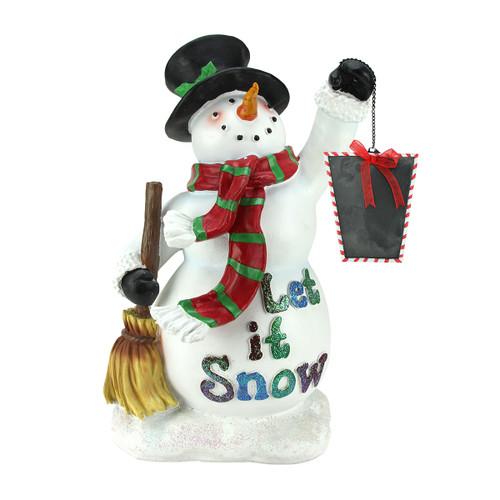 "18"" White Snowman Holding Broom and Blackboard Christmas Figurine - IMAGE 1"
