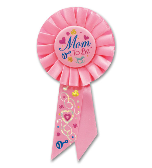 "Pack of 6 Pink ""Mom to Be"" Mother's Day Baby Shower Party Rosette Ribbons 6.5"" - IMAGE 1"