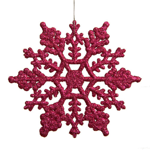 "Club Pack of 24 Mulberry Pink Glitter Snowflake Christmas Ornaments 4"" - IMAGE 1"
