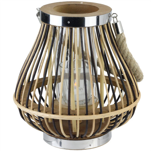 """9.25"""" Rustic Chic Pear Shaped Rattan Candle Holder Lantern with Jute Handle - IMAGE 1"""