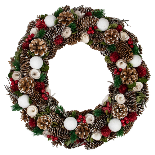 Frosted Pine Cone and Rose Artificial Christmas Wreath - 19-Inch, Unlit - IMAGE 1