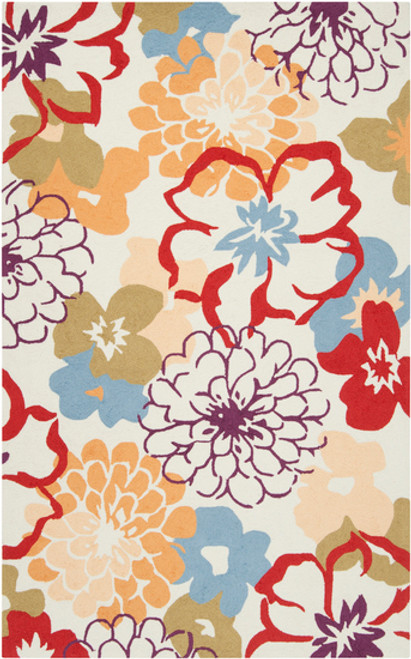 2' x 2.75' Blended Garden Orange Red and Sky Blue Hand Hooked Area Throw Rug - IMAGE 1