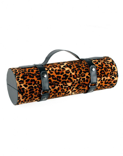 """13.25"""" Brown and Black Leopard Print Wine Bottle Carrier Purse - IMAGE 1"""