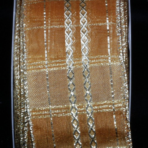 """Shimmering Gold and Silver Sheer Woven Wired Craft Ribbon 2.5"""" x 20 Yards - IMAGE 1"""