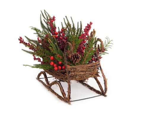 """17"""" Red and Brown Mixed Pine Berry Sleigh Christmas Tabletop Decor - IMAGE 1"""