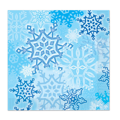 """Club Pack of 192 White and Blue Snowflake 2-Ply Christmas Disposable Luncheon Napkins 6.5"""" - IMAGE 1"""