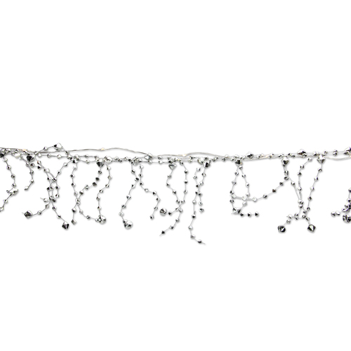 6' Pre-Lit Battery Operated Warm White Faceted Bead Christmas Garland - IMAGE 1