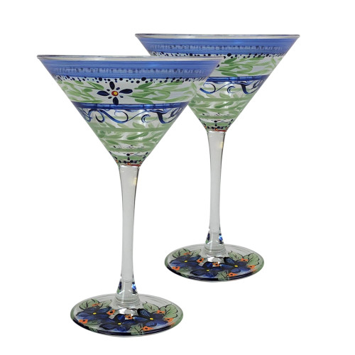 Set of 2 Blue and Green Floral Hand Painted Martini Drinking Glasses 7.5 oz. - IMAGE 1