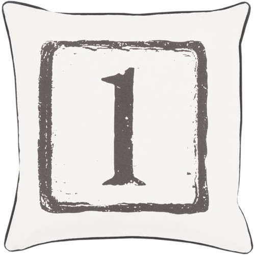 """18"""" Coal Black and Daisy White 1 Big Kid Blocks Decorative Throw Pillow - Polyester Filler - IMAGE 1"""