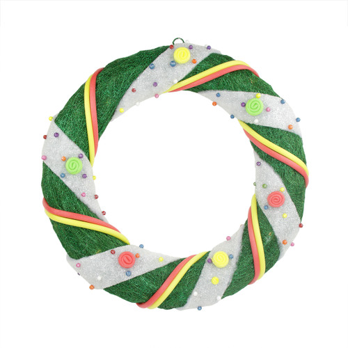 Pre-Lit Green and White Candy Striped Sisal Artificial Christmas Wreath - 18-Inch, Clear Lights - IMAGE 1