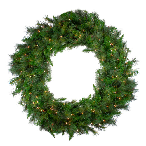 Pre-Lit Canyon Pine Artificial Christmas Wreath - 60-Inch, Clear Lights - IMAGE 1