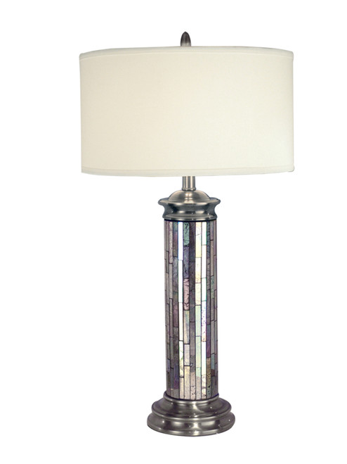 """28.5"""" Pewter Gray and Silver Art Hand Crafted Glass Accent Table Lamp with Crisp White Drum Shade - IMAGE 1"""