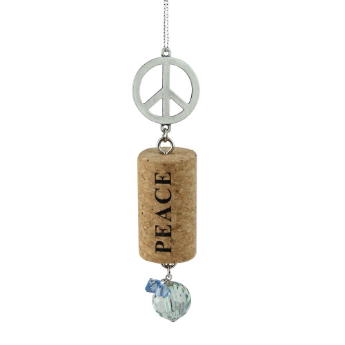 """Tuscan Winery Peace Sign """"Peace"""" Inspirational Decorative Green Faux Gem Accented Wine Cork Christmas Ornament 5.5"""" - IMAGE 1"""
