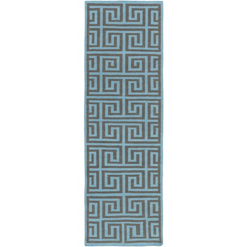 2.5' x 8' Magical Mazes Turquoise Blue and Granite Gray Hand Woven Outdoor Area Throw Rug Runner - IMAGE 1