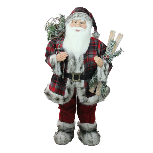 "36"" Red and White Standing Santa Claus Christmas Figurine with Frosted Pine - IMAGE 1"