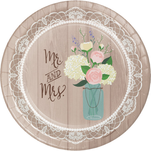 """Club Pack of 96 Rustic Wedding Disposable Round Paper Party Banquet Dinner Plates 10"""" - IMAGE 1"""
