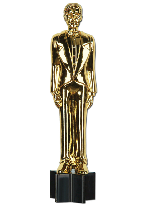 """Club Pack of 12 Gold Movie Award Night Jointed Male Statuette Cutout Party Decors 66"""" - IMAGE 1"""
