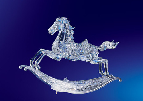"""Set of 2 Clear Musical Christmas Rocking Horses Figurines 10.5"""" - IMAGE 1"""