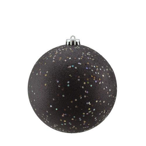 "Holographic Glitter Jet Black Shatterproof Christmas Ball Ornament 6"" (150mm) - IMAGE 1"