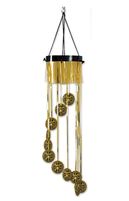 """Club Pack of 12 Metallic Gold and Black Pirate Doubloon Birthday Party Spiral Hanging Decors 40"""" - IMAGE 1"""