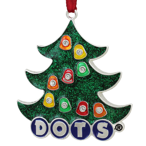 """3"""" Silver Plated DOTS Candy Logo Christmas Tree Ornament with European Crystals - IMAGE 1"""