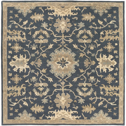 4' x 4' Classical Denim Blue and Brown Hand Tufted Square Wool Area Throw Rug - IMAGE 1