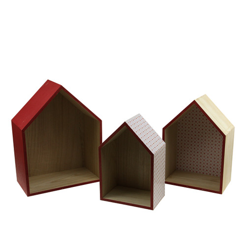 """Set of 3 Brown and Red Geometric Shadow Boxes 15.5"""" - IMAGE 1"""