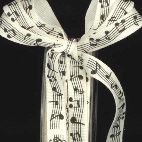"Ivory Musical Note Print Craft Ribbon 0.25"" x 108 Yards - IMAGE 1"