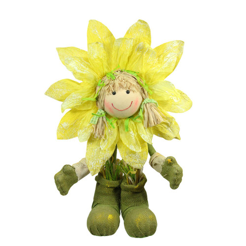 """29"""" Green and Yellow Spring Floral Standing Sunflower Girl Decorative Figure - IMAGE 1"""