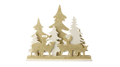 """19"""" LED Lighted Black Lamp Post With Deer & Wreath Table"""