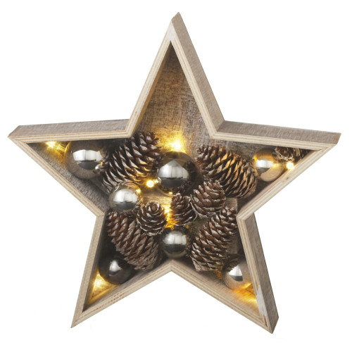 "11"" Gray and Brown LED Lighted Country Rustic Star Christmas Decoration - IMAGE 1"