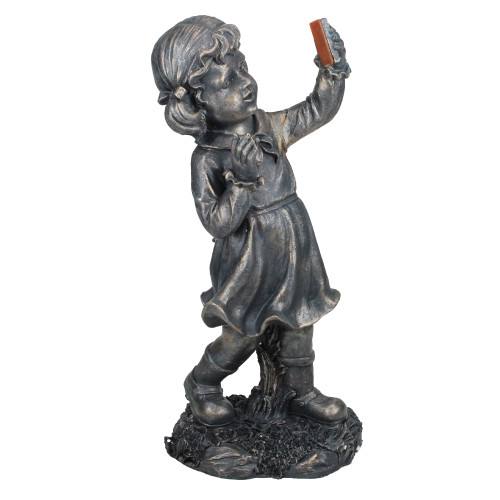 "18"" Pre-Lit Black Solar Powered LED Girl with Cell Phone Outdoor Garden Statue - IMAGE 1"