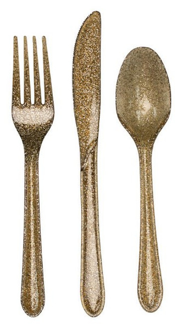 """Club Pack of 288 Gold Glitz Glittered Heavy-Duty Forks and Spoons 9.5"""" - IMAGE 1"""