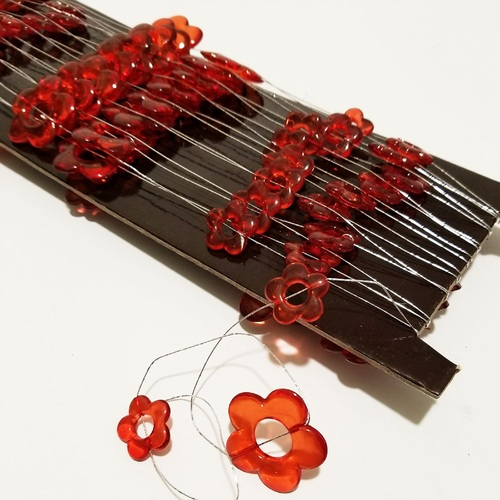 """Red Decorative Strand of Flowers on Wire 1.25"""" x  22 Yards - IMAGE 1"""