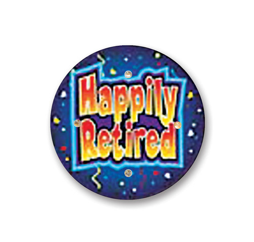"""Pack of 6 Blue and Yellow """"Happily Retired"""" Flashing Retirement Celebration Buttons 2.5"""" - IMAGE 1"""