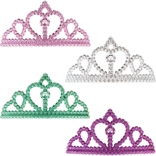 """Pack of 48 Silver Blue Plastic Party Tiara Hair Comb Headband Party Favors 10.5"""" - IMAGE 1"""