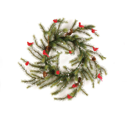 Green and Red Glittered Cardinal Snow Pine Artificial Christmas Wreath - 24-Inch, Unlit - IMAGE 1