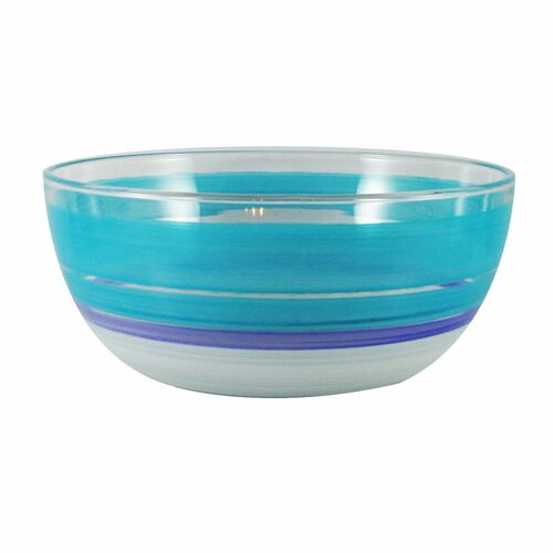 """11"""" Blue and White Contemporary Striped Glass Serving Bowl - IMAGE 1"""