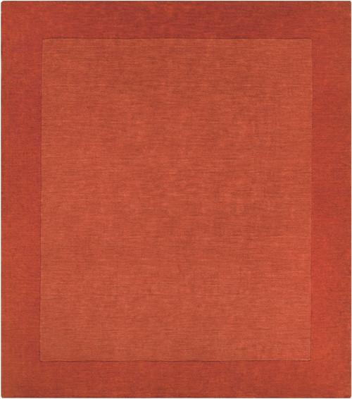 9.75' x 9.75' Solid Burnt Orange Hand Loomed Square Wool Area Throw Rug - IMAGE 1