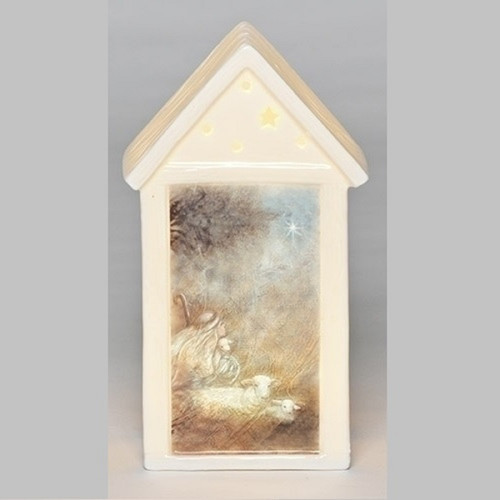 "7.5"" Pre-Lit Ivory LED Building Christmas Tabletop Decor - IMAGE 1"