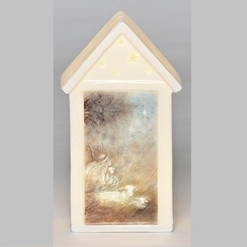 "7.5"" Pre-Lit Ivory LED Building Christmas Tabletop Decor - IMAGE 1"