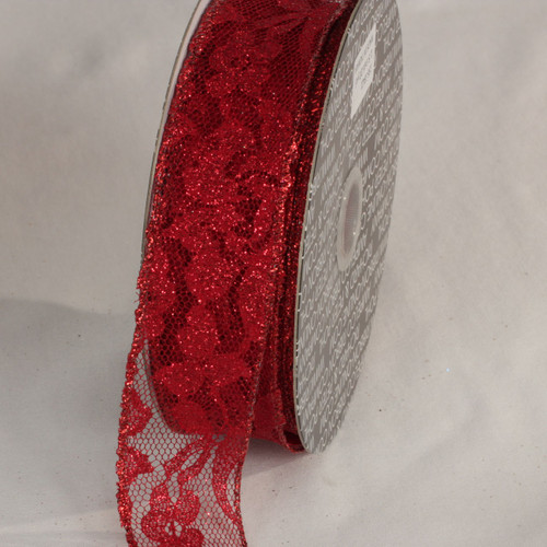 """Red Solid Floral Motif Lace Craft Ribbon 1.5"""" x 40 Yards - IMAGE 1"""